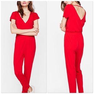 Express Red Flutter Sleeve Jumpsuit
